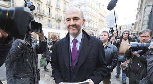 Le député socialiste Pierre Moscovici, le 23 février 2010 au siège du PS à Paris.