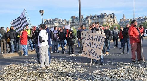 Environ 300 ostréiculteurs ont manifesté mercredi à Paris sur le pont de l'Alma. Ils voulaient alerter sur le phénomène de surmortalité qui a atteint 80 à 100% de certains lots d'huîtres creuses et menace leur avenir professionnel.