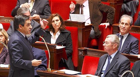 François Fillon, premier ministre, lors de la séance des questions au gouvernement, à l'Assemblée Nationale, le 11 mai.