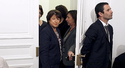 Martine Aubry arrive en conférence de presse,le 18 mai.