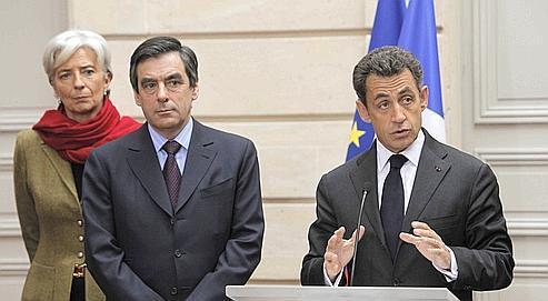 Au côté de Christine Lagarde et de François Fillon, Nicolas Sarkozy a tenu la première conférence sur les déficits publics, le 28 janvier dernier à l'Élysée.