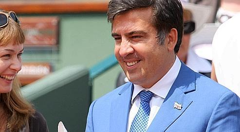 Avant ses entretiens à l'Élysée, le président géorgien s'est rendu dimanche à Roland-Garros pour suivre la finale de tennis entre Nadal et Söderling.