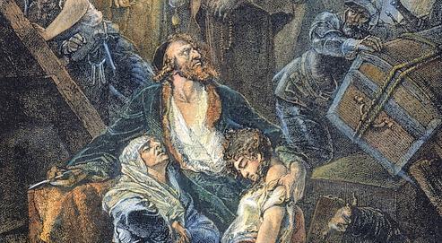 Gravure du XIXe siècle représentant l'expulsion des Juifs d'Espagne en 1492 (un siècle avant celle des musulmans) sur ordre du roi Ferdinand II d'Aragon et d'Isabelle de Castille.