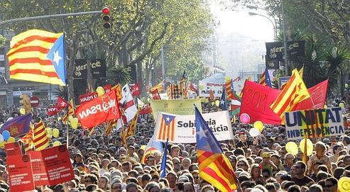 Une manifestation de séparatistes catalans, lors de la «journée nationale catalane», le 11 septembre 2009.