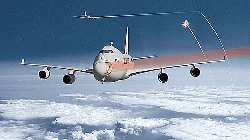 Les rayons laser utilisés dans l'armement ne seront pas visibles comme sur cette représentation artistique du projet Airborne Laser de Boeing.