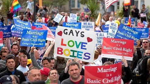 Des défenseurs des droits des homosexuels, le 4 août dernier, à San Francisco.