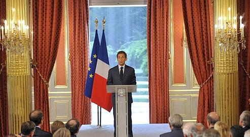 Le chef de l'État s'est exprimé devant les ambassadeurs mercredi à l'Élysée. (Crédits photo : Vincent Boisot/Le Figaro)