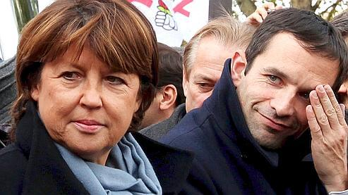 Martine Aubry et Benoît Hamon, pendant une manifestation contre la réforme des retraites.