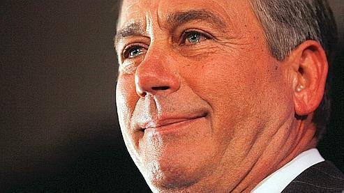 Le futur président de la Chambre des représentants, John Boehner, au bord des larmes lors de son discours au QG républicain pour ces élections, à Washington.