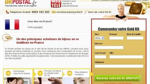 La page d'accueil du site Internet d'Or Postal.