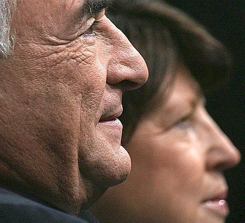 Dominique Strauss-Kahn et la première secrétaire du PS, Martine Aubry.