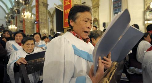 Des catholiques chinois célèbre Noël à Pékin l'année dernière. (Crédits photo: Lui Jin/AFP)