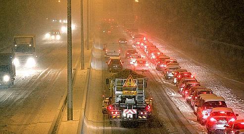 Des embouteillages à proximité de Reims, mercredi soir.