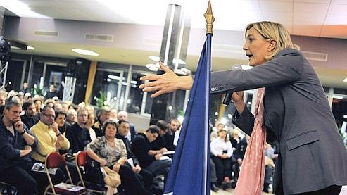 Marine Le Pen vendredi à Lyon.
