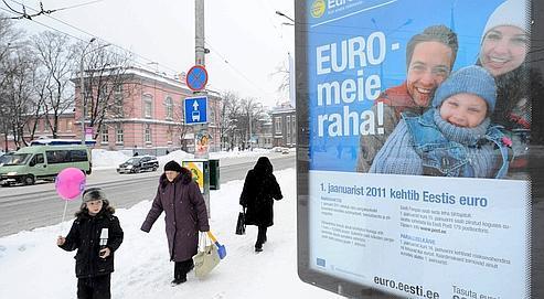 «L'Euro est notre monnaie !» proclame une affiche dans les rue de Tallinn, le 27 décembre dernier.