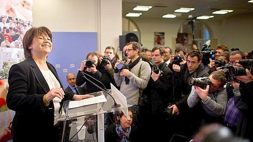 Marine Aubry, jeudi, lors de ses voeux à la presse.