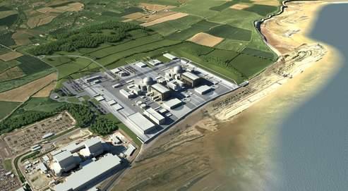 Vue d'artiste de la future centrale de Hinkley Point. Les deux réacteurs prévus produiront chacun 1650MW, soit deux fois plus que les deux réacteurs combinés de la centrale existante.