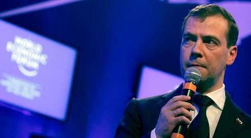 Le président de la Russie, Dmitri Medvedev, mercredi, à Davos.