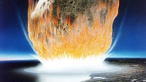 Vision d'artiste de l'impact de l'astéroïde qui aurait provoqué la disparition des dinosaures il y a 65,5 millions d'années. (crédits photo : NASA)
