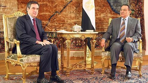 François Fillon en visite officielle auprès du président égyptien Hosni Moubarak en 2008.