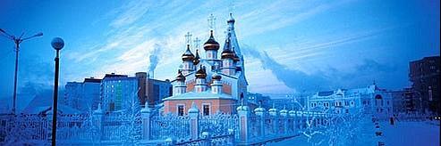 Même les flammes d'or des bulbes orthodoxes ne réchaufferont pas le ciel de Iakoutsk. Crédits photos: Thomas Goisque.