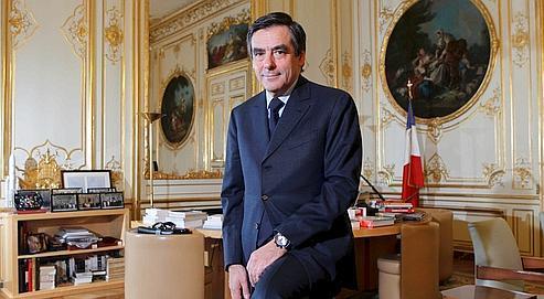 François Fillon dans son bureau à l'Hôtel Matignon, jeudi.