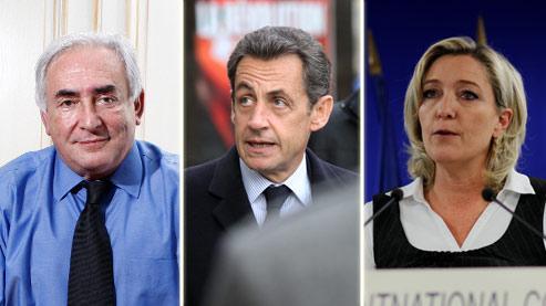 Dominique Strauss-Kahn, Nicolas Sarkozy et Marine Le Pen.