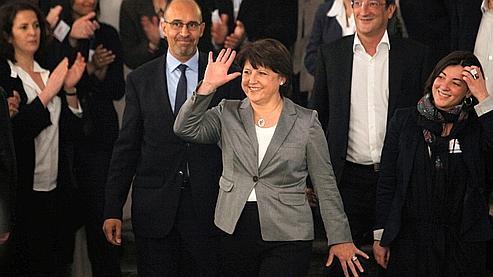 Martine Aubry (au centre), le 27 mars dernier.
