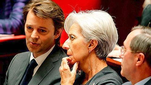 Les ministres du Budget François Baroin, de l'Économie et des Finances Christine Lagarde et de l'Intérieur Claude Guéant.