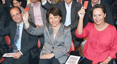 François Hollande, Martine Aubry et Ségolène Royal en avril dernier à Paris.