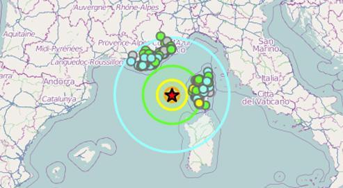 Capture de la carte du Bureau central sismologique français. (lefigaro.fr)
