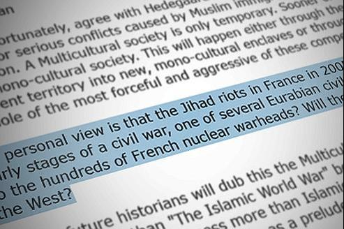Les émeutes de 2005 dans les banlieues sont présentées comme la «première phase d'une guerre civile» en Europe.
