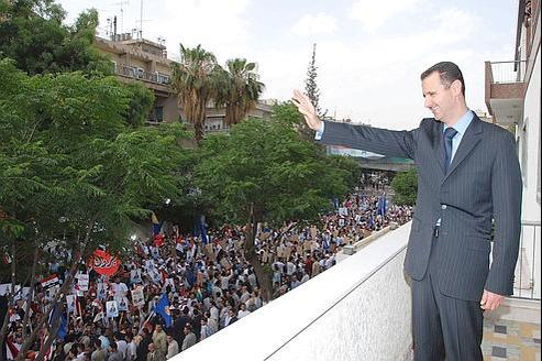 Une manifestation pro-Assad, en mai dernier.