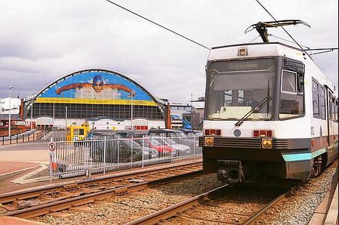 Un tramway Metrolink à manchester en 2003.
