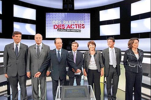 Arnaud Montebourg, Jean-Michel Baylet, Francois Hollande, David Pujadas, Martine Aubry, Manuel Valls et Ségolene Royal.