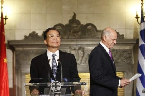 Le premier ministre chinois Wen Jiabao et son homologue grec Georges Papandréou, début septembre.