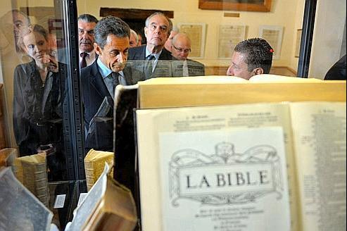 Nicolas Sarkozy au musée du Désert, consacré à l'histoire des protestants.