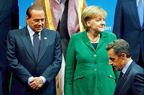 Nicolas Sarkozy Angela Merkel Silvio Berlusconi, chefs d'État de la France, l'Allemagne et l'Italie