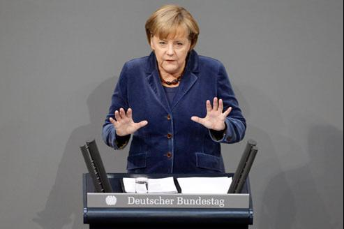 Angela Merkel devant le parlement allemand, mercredi 26 octobre. Crédits: Reuters