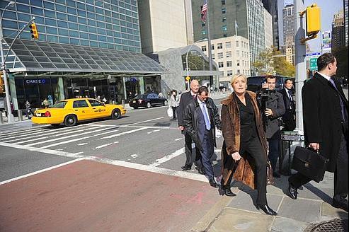 Marine le Pen arrive au siège de l'ONU, ce jeudi.