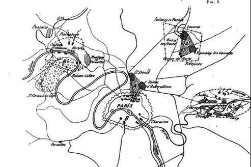 Trois emplacements ont été définis. Les installations ont débuté par la zone A2, près de Villepinte (schéma tiré de la Revue militaire française).