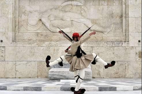 Les gardes officiels grecs à Athènes.