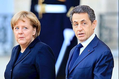 Nicolas Sarkozy et Angela Merkel, à Paris.