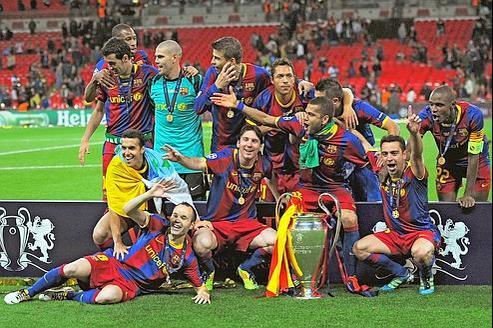 L'équipe de Barcelone lors de sa victoire en Ligue des champions, en mai dernier. Lundi, l'opérateur qatarien a acquis les droits de retransmission des 133rencontres composant cette compétition.