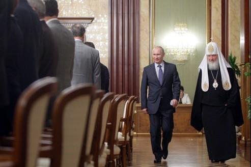 Le patriarche Kirill en compagnie de Vladimir Poutine, en mai 2011.