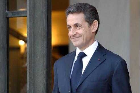 Nicolas Sarkozy, au Palais de l'Elysée, à l'issue d'une conférence de presse commune avec la Chancelière allemande, au cours de laquelle ont été présentées leurs propositions pour sortir l'Europe de la crise.