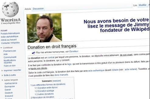 Wikipedia a déployé d'imposants appels aux dons sur toutes ses pages.