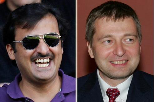 En 2011, deux milliardaires étrangers ont pris le contrôle de clubs français. À gauche, le Cheikh qatari, Tamim bin Hamad Al-Thani (PSG). À droite, le russe Dimitry Ribolovlev (AS Monaco).