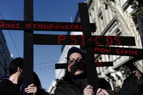 Manifestants contre les réformes à Athènes, le 17 janvier.
