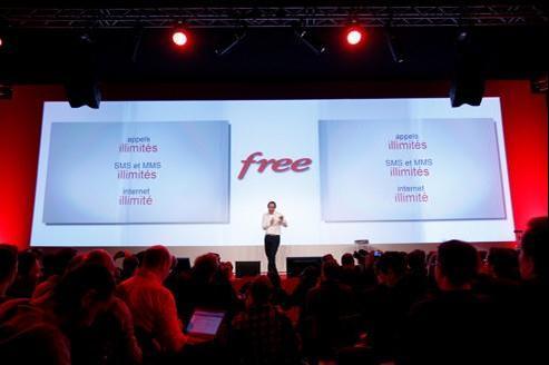 Xavier Niel, le patron d'Iliad, lors de la présentation de l'offre Free Mobile le 10 janvier dernier.